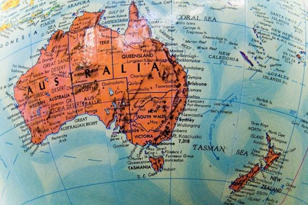 a close up image of the Austrlian oceania region on a globe